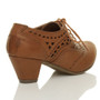 Front view of Tan PU Mid Heel Cut Out Brogue Shoe Boots