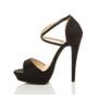 Left side view of Black Glitter High Heel Crossed Straps Platform Sandals