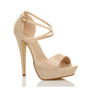 Front right side view of Nude Patent High Heel Crossed Straps Platform Sandals