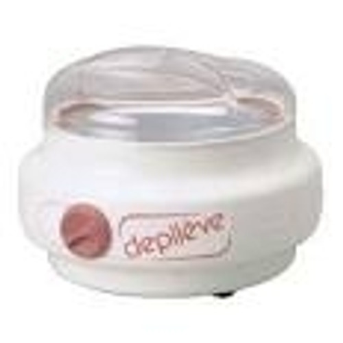 The Depileve Pro Warmer is a thermostat controlled warmer which features adjustable heat settings, a low profile design, and a break resistant plastic lid.