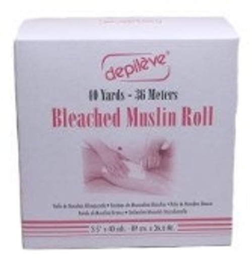 """This bleached muslin roll by Depileve is 40 yards long and 3 1/2"""" wide."""