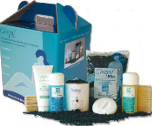 Signature Stripless Wax System Kit Includes: Blue 800g Beads, 250 ml Blue Lotion and Pre-Dep Oil, 50/pak Facial Spatulas, 100/pak Body Spatulas, 200 ml After Wax Gel, and Petite Wax Heater