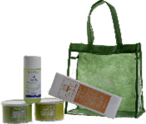 New Moisturizing Introduction Kit includes GreenEpil 400 g Tin, Vegetale Tin 400 g, Nat. Moisturizing Oil 250 ml, 125/pak Non-Woven Strips, Vinyl Case.