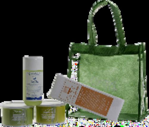 New Moisturizing Introduction Kit includes GreenEpil 400 g Tin, Vegetale Tin 400 g, Nat. Moisturizing Oil 250 ml, 125/pak Non-Woven Strips, Vinyl Case.