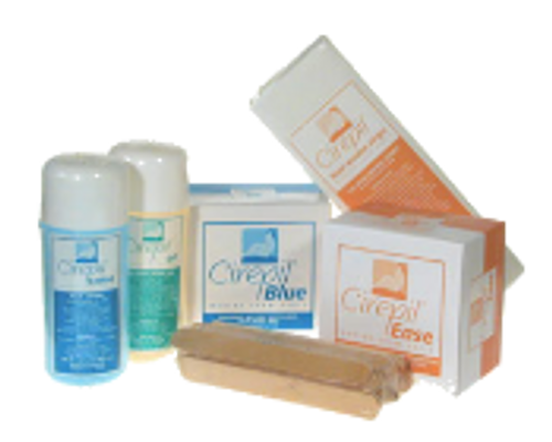 Cirepil Wax Starter Kit: includes 1 Ease 400g, 1 Blue Tin 400g, 1 Blue Lotion 250 ml, 1 Pre-Depilatory 250 ml, 125 pak Waxing Strips, 1 25 pak Spatulas, Vinyl Case