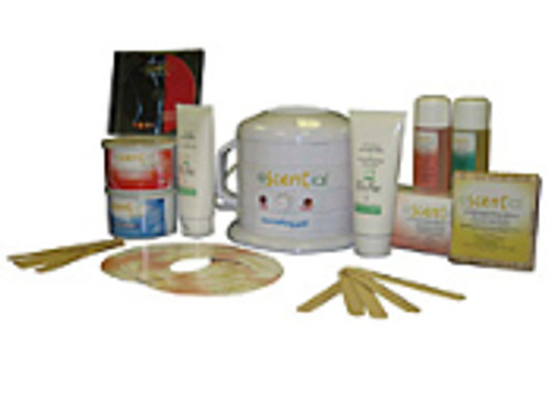 Escential Signature Body Waxing System Kit includes: Rose 400 g Tin, Pure 400 g Tin, Rosewater Cleanser 125 ml, Jasmine Oil 125 ml, 125/pk Non-Woven Strips, 100/pk Body Spatulas, 50/pk Facial Spatulas, Moisturizing Lotion 200 ml, Cooling Gel 200 ml, Collars, DVD, Melting Pot Heater 400 g, Eco-Cloth Tote