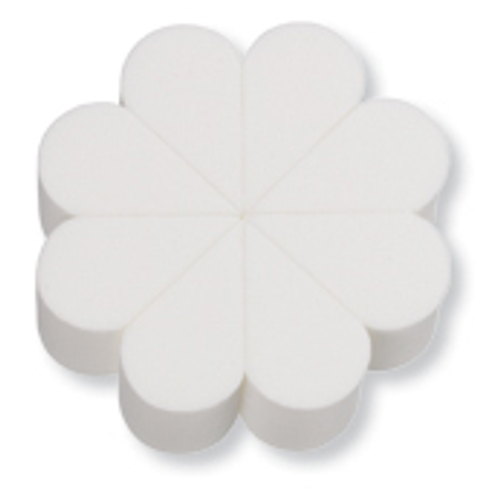 """8-Piece Flower Sponge, White.  Evenly apply liquid and cream based formulas with this white latex-free polyurethane foam flower sponge that comes with eight removable petal shaped sponges. The unique shape of the petal sponges allow for precise application in hard to reach areas.Measurements: 3.25'' Diameter x 1"""" (82.6 mm x 25.4 mm); Latex-Free!  PU foam.  Individually wrapped."""