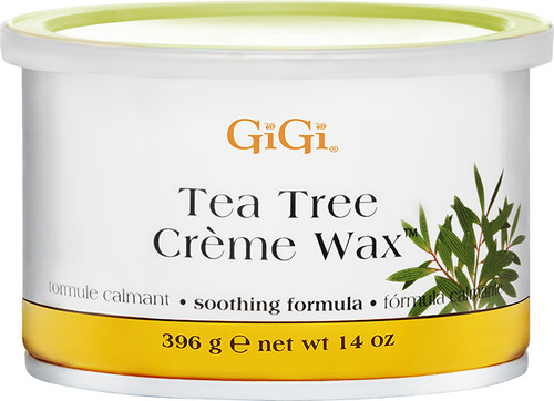 Gigi Creme Wax 14 oz.  Tea Tree Oil provides soothing and calming properties.  Ideal for sensitive skin.  Great for body and face.