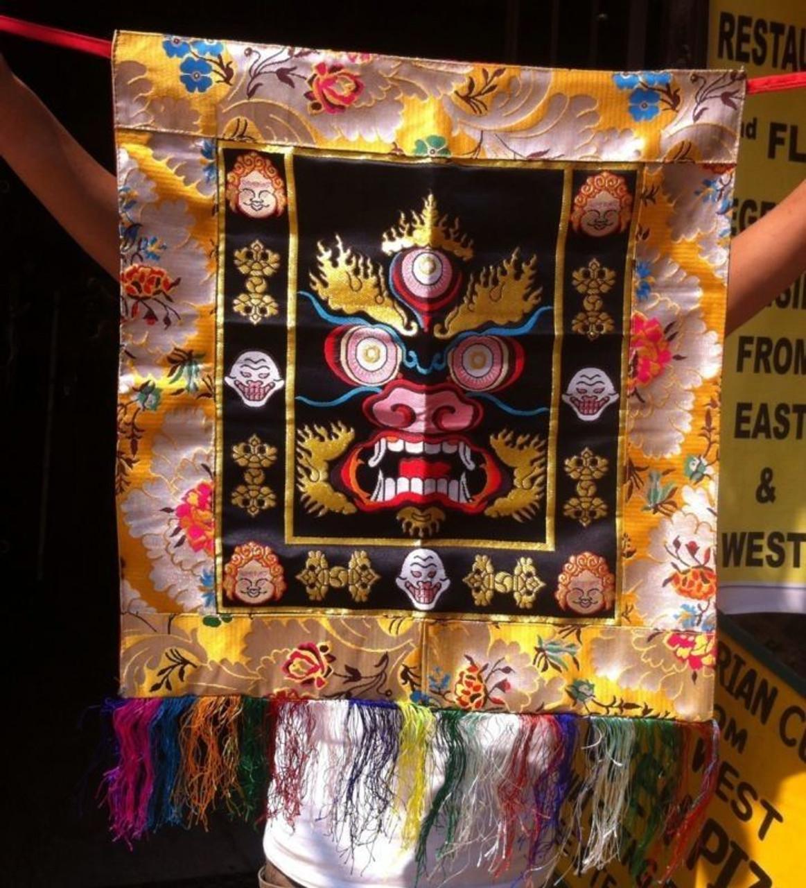 Tibetan Silk Brocade Tantric Mahakala Monk Dance Apron / Wall Hanging