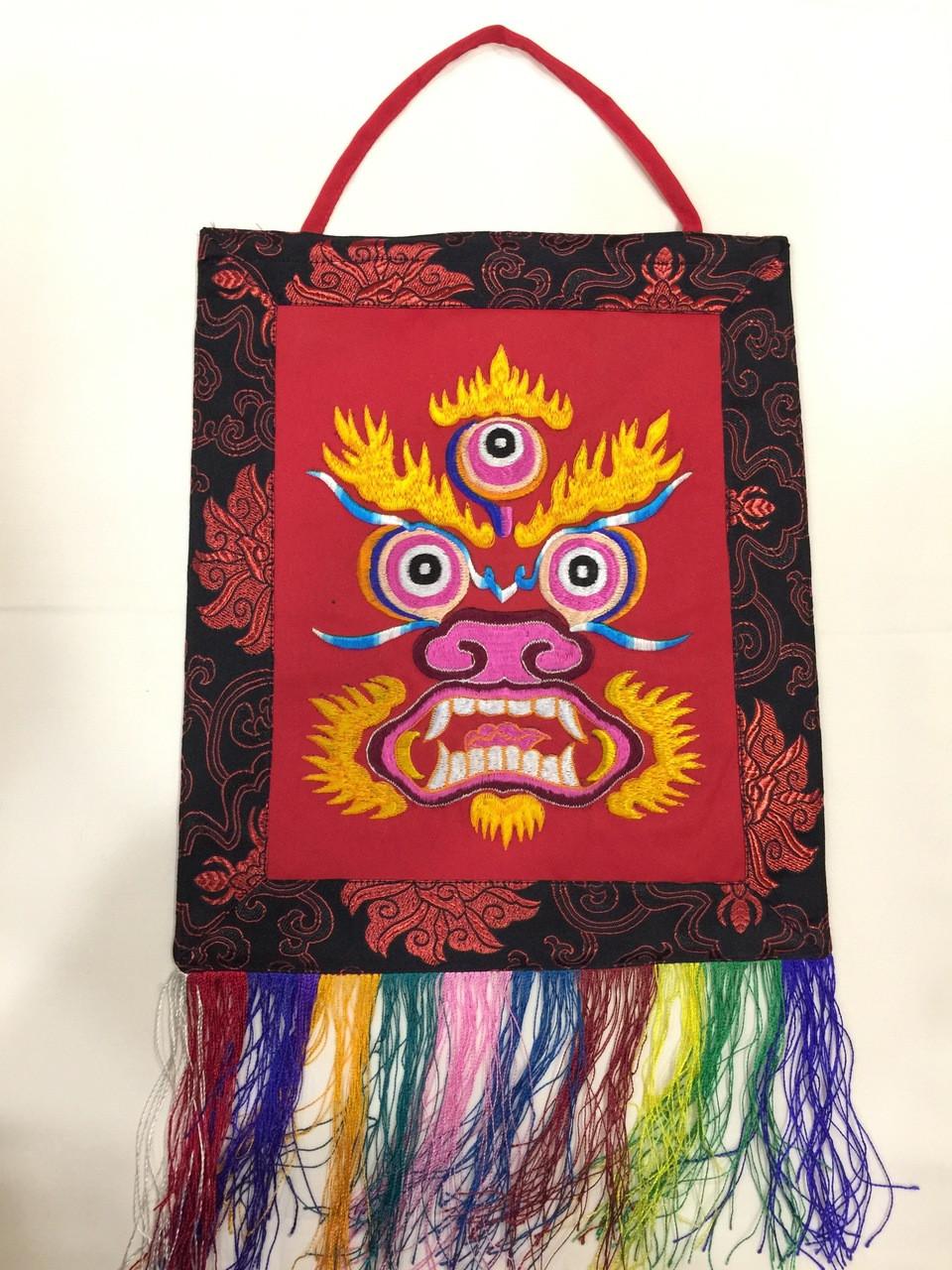 Tibetan buddhist hand embroided red mahakala wall hanging / banner / thangka