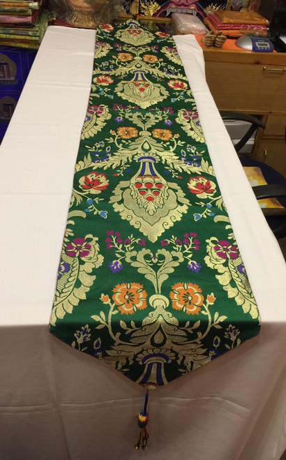 Tibetan Large size silk brocade green norbu design ( precious jewel) shrine table  runner / table cloth / with