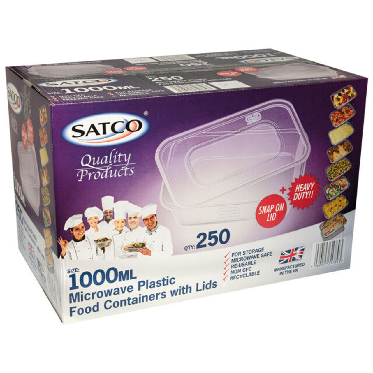 Satco 1000ml Rectangular Plastic Containers & Lids Pack Size 250
