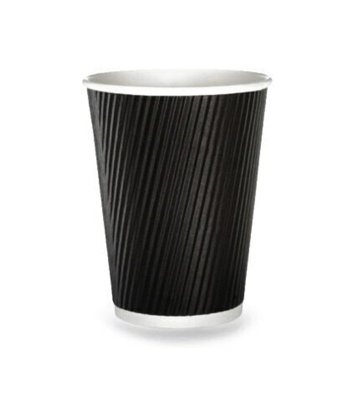 Hot Drink Cup Ripple Wall Black 16oz Pack Size 25