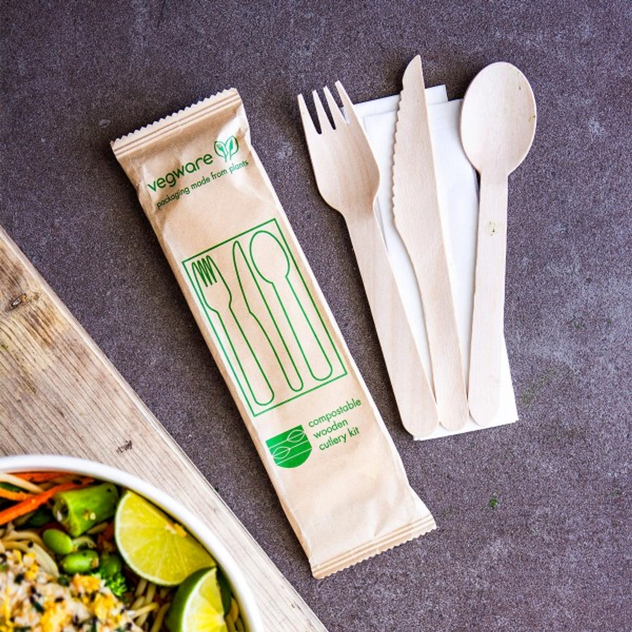 Vegware Compostable Wooden Cutlery Kit Pack Size 250 Kits