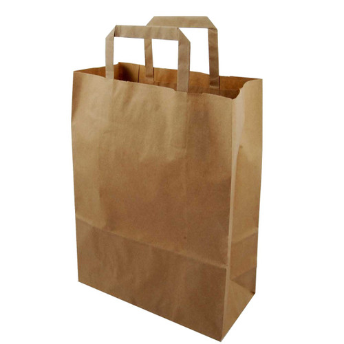 Brown Paper Take Away Bags with Handles - Large