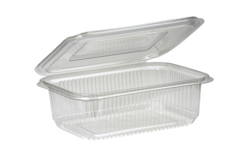Salad Container Rectangular Clear Plastic with Hinged Lid 750ml Pack Size 125