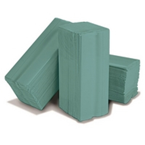 C Fold Hand Towels Green 1ply Pack Size