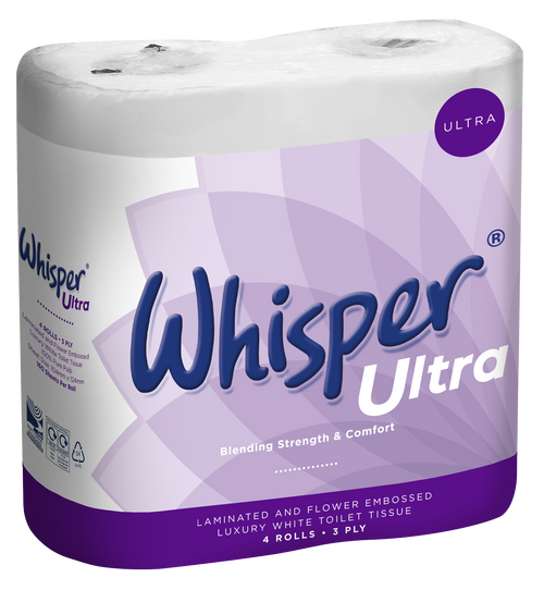Whisper Ultra Toilet Tissue White 3Ply Pack Size 40 Rolls