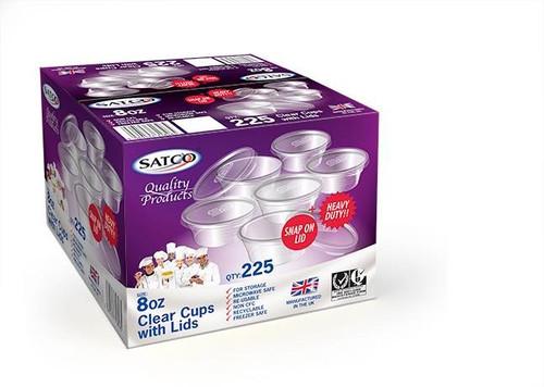 Satco 8oz Round Plastic Pots & Lids M8 Pack Size 225
