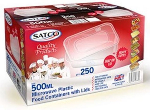 Satco 500ml Rectangular Plastic Containers & Lids Pack Size 250