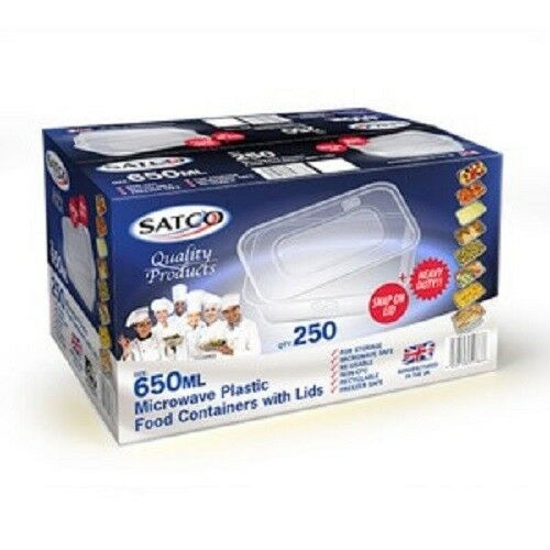 Satco 650ml Rectangular Plastic Containers & Lids Pack Size 250