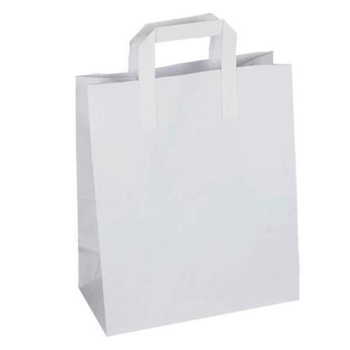 White Paper Take Away Bags with Handles - Medium