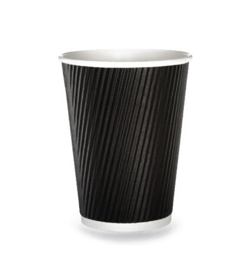 Hot Drink Cup Ripple Wall Black 12oz Pack Size 25