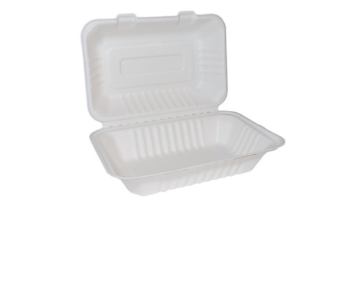 Bagasse Clam Shell Large 9x6 Pack Size 250
