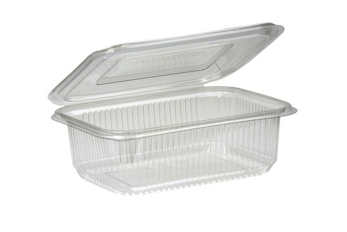 Salad Container Rectangular Clear Plastic with Hinged Lid 750ml Pack Size 100