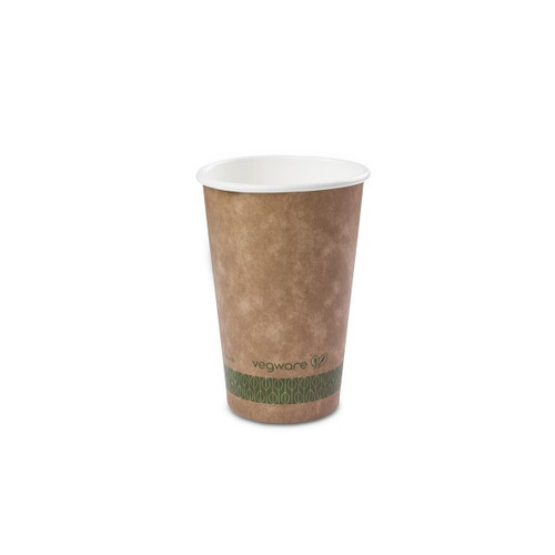 Vegware Brown Kraft Single Wall Hot Drinks Cup 16oz Pack Size 1000