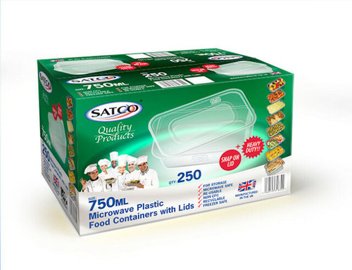 Satco 750ml Rectangular Plastic Containers & Lids Pack Size 250