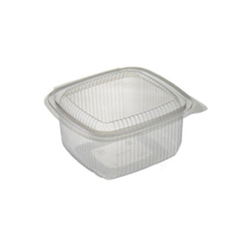 Salad Container Rectangular Clear Plastic with Hinged Lid 500ml Pack Size 50