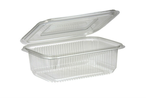 Salad Container Rectangular Clear Plastic with Hinged lid Pack Size 400