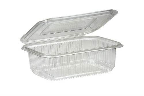 Salad Container Rectangular Clear Plastic with Hinged Lid 750ml Pack Size 400