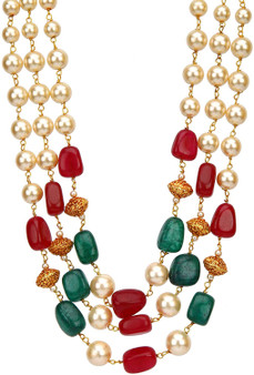 Runjhun Jewellery 3 Layered Green Ruby and Golden Beads Royal Designer Ethnic Traditional Necklace for Women