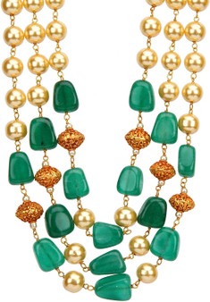 Runjhun Jewellery 3 Layered Green and Golden Beads Royal Ethnic Traditional Necklace for Women