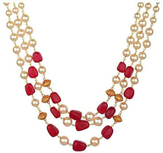 Runjhun Jewellery 3 Layered Ruby and Golden Beads Royal Designer Ethnic Traditional Necklace for Women
