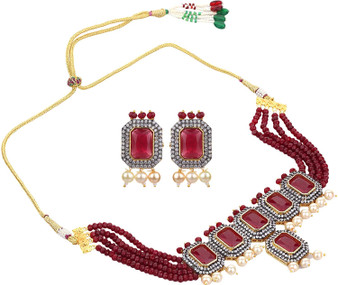 Runjhun Jewellery Royal Red Zirconia Semi Precious Beads 18 Carat Gold Plated Designer Traditional Choker Necklace for Women Girls