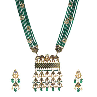 Runjhun Jewellery Kundan Long Green Semi Precious Beads 18 Carat Gold Plated Royal Designer Ethnic Traditional Pearl Necklace for Women Girls