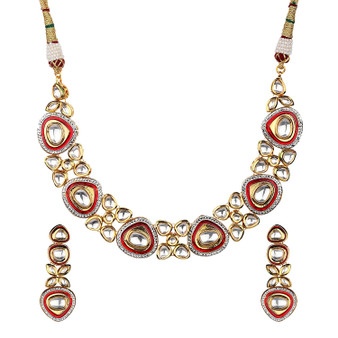 Runjhun Jewellery Kundan Royal Semi Precious Beads 18 Carat Gold Plated Choker Designer Traditional Exclusive Necklace for Women Girl