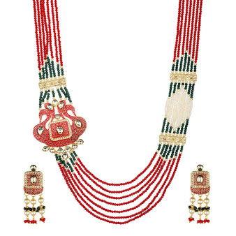 Runjhun Jewellery Designer Multilayered Statement Long Maroon Green Semi Precious Swaroski Beads with Side Broach Necklace for Women Girls