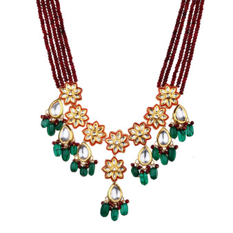 Runjhun Jewellery Kundan Royal Ruby Semi Precious Beads 18 Carat Gold Plated Traditional Layered Necklace for Women Girls