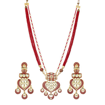 Runjhun Jewellery kundan Ruby Color Jaipuri Royal Designer Ethnic Traditional Pearl Necklace for Women Girls (Maroon)