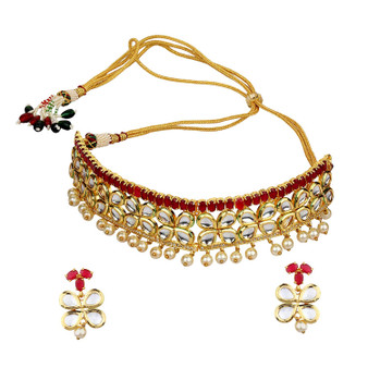 Runjhun Jewellery Ruby Stone kundan Beads And Pearl Jaipuri Exclusive High Quality 22-Carrat Gold Plated Real Look Traditional Necklace Set for Women Girls