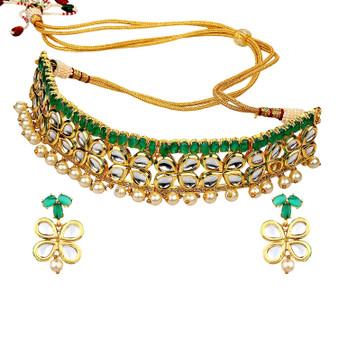 Runjhun Jewellery Emrald Green Markesh Color Beads And Pearl Jaipuri Exclusive High Quality 22-Carrat Gold Plated Real LookTraditional Necklace Set For Women Girls