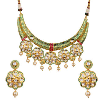 Runjhun Jewellery Kundan Royal Green Semi Precious Beads 18 Carat Gold Plated Hasli Designer Traditional Exclusive Necklace for Women Girls