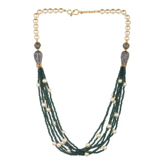 Runjhun Jewellery Emrald Green Markesh Color Beads And Pearl Jaipuri Exclusive High Quality 22-Carrat Gold Plated Real Look Traditional Necklace Set For Women Girls