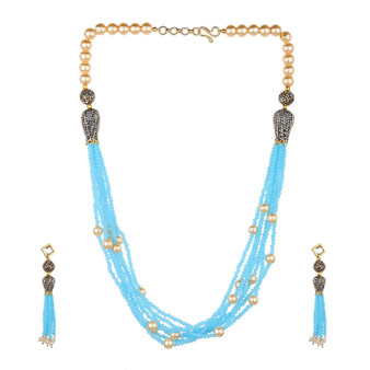 Runjhun Jewellery Turquoise Color Beads And Pearl Jaipuri Exclusive High Quality 22-Carrat Gold Plated Real Look Traditional Necklace Set For Women Girls