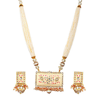 Runjhun Jewellery Meenakari Jaipuri Royal Designer Ethnic Traditional Pearl Necklace for Women Girls