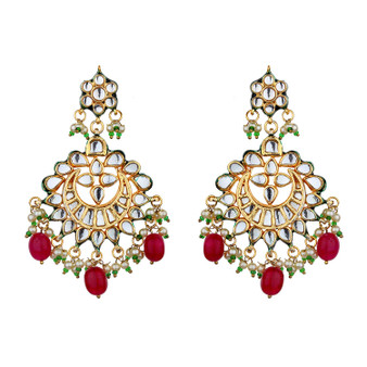 Runjhun Jewellery Kundan Semi Precious Stones Gold plated Elegant Designer Ethnic Traditional Bollywood Danglers Women Girls